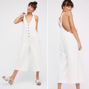 Free People white jumpsuit overalls on the run